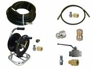 Sewer Jetter Cleaner Kit - Ball Valve 150and039 X 1/4 Hose Reel And Nozzles