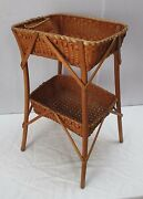 Vintage Hand Woven Two Tier Indian Basket Side Table - American Indian Souvenir
