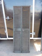 Pair Victorian Louvered House Window Shutters Crackled Paint Surface 74 X 13