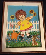 Lovely Mid-century Ethan Allen Collectors Framed Print Raggedy Anne By Lyn Vtg