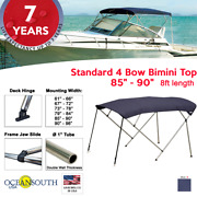 Standard Bimini Top 4 Bow Boat Cover Blue 85-90 Wide 8ft Long With Rear Poles