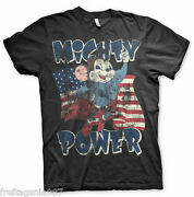 Mighty Mouse Power Distressed T-shirt Camiseta Cotton Officially Licensed