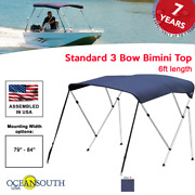 Oceansouth Bimini Top 3 Bow Boat Cover Blue 79-84 Wide 6ft Long W/ Rear Poles