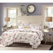 Beautiful Cottage Chic Green Pink Green Shabby Red Rose Country White Quilt Set