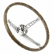 1967 Ford Mustang Deluxe Woodgrain Steering Wheel W/ Horn Ring And Collar