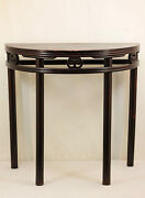 A Chinese Antique Dark Color Hardwood Half Table Semi-circle Tall Long Legs