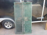 Pair C1880 Victorian Louvered House Window Shutters Green - Blue 60.5 H X 16.5