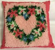 Vintage Heart Hook Rug Finishes 15 Pillow Bright And Beautiful And Sooo Cute