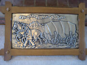 Huge Antique Germany 29 X 19 Embossed Pewter Picture With Oak Frame Very Nice
