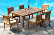 Dsgv Grade-a Teak Wood 7pc Dining 94 Rectangle Table Chair Set Outdoor Patio Nw