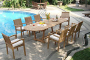 Dslv Grade-a Teak 9 Pc Dining 117 Mas Oval Table 8 Stacking Arm Chair Set