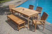 Dswv Grade-a Teak 6pc Dining 71 Rectangle Tablebenchstacking Arm Chair Set