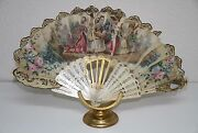 Ab124 Antique Fan. Carved Sticks. Hand Painted Silk. With Mirror. France. 18th