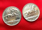 Alexander The Great On Horse W/ Sword Antique Silver Tone Albania Coin Cufflinks