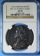 1736 Great Britain England Silver Crown Coin Plumes And Roses George Ii Ngc Au 58