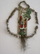 Antique Victorian Vintage Christmas Ornament Scrap W/ Santa And Wire Gold Tinsel