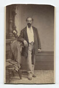 Cdv Bearded Man In Relaxed Standing Pose. Painted Background. Scranton Pa.