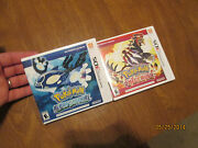 Pokemon Alpha Sapphire And Pokemon Omega Ruby Nintendo 3ds Lot 2 Games Authentic