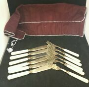 12 Piece Antique Fish Flatwear Set 6 Forks And 6 Knives Silverplate