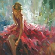 Repose Stretched Canvas Giclee By Edward Jarvis - Beautiful Sexy Woman In Dress