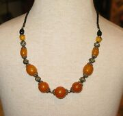 Moroccan Amber Beads Necklace - Moroccan Berber Orange Amber Short Necklace