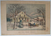 Currier And Ives The Old Farm House Original Hand-colored Lithograph 1872