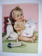 Vintage Print By Charlotte Becker Of Baby,terrier Puppy, Bottle And Song Book