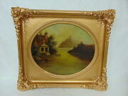 Rare Antique 19th C. Oil On Canvas Flood Scene Painting