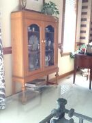 Antique Bookcase With 2 Arched Glass Front Doors