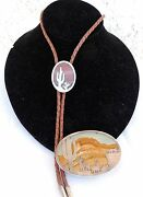 Holladay Sterling Silver Jasper / Red Line Agate Bola Tie And Belt Buckle Rare