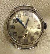 Rare Antique Sterling Silver Military Watch Mimo Girard Perregaux Needs Repair