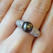 Mauboussin Black Pearl And Diamond Pave Ring In 18k White Gold - Hm341rve
