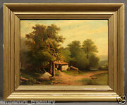 Early 20th Century Andldquolandscape With Small Cottageandrdquo Signed Oil Painting