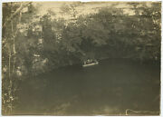Vintage Photo Of People In A Boat On River Or Pond Lined With Trees/stone Wall
