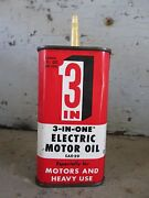 Vintage 3-in-one Electric Motor Oil Can W/ Plastic Spout - 3 Oz.