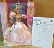 Rapunzel Barbie Doll Pink Gown Long Blonde Golden Hair W/ Jewel Crown New Boxed