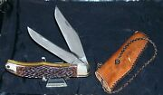 Schrade Walden 225h Knife Folding Hunter W/pocket Pouch And Braided Leather Pull