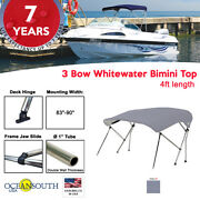 3 Bow Bimini Top Boat Cover 83 - 90 Width 4ft Long Grey With Support Poles