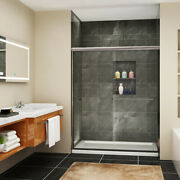 Sunny Shower 60 X 72 Sliding Shower Door Bypass Brushed Nickel Clear Glass
