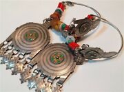 Antique Judaica Silver Moroccan Berber Braid Earrings Set With Amber M850