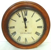 Rare Antique English Clock Made By Wright Of Burton On Trent W/ Oak Case