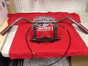 Harley Davidson Early Panhead Handlebar With Cables And Knuckle Trees And Risers