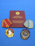 Authentic Soviet Russian Lenin Set Order Badge Gold And Platinum Medals 283703