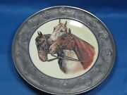 9 Antique German Embossed And Engraved Porcelain Plate W/pewter Rim Horse Heads