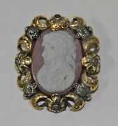 Joy486 Pendant And Brooch Cameo. 18 K Gold Silver And Diamonds. Spain. 19th C.