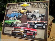 Vintage Chevy Trucks Since 1918 Tin Metal Sign Classic Garage Shop Gm Old Pickup