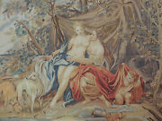 5x7 French Tapestry Oriental Area Rug Wall Hanging Romance Dogs Wool Knotted