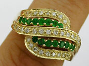 R110- Genuine 18k 18ct Solid Gold Natural Emerald And Diamond Dome Ring Size N