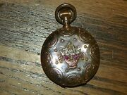 Antique Elgin 14k Gold Ornate Case 7 Jewel Pocket Watch - Serviced And Runs Well