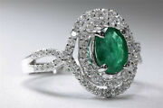 Antique 18k White Gold Ladies Oval Cut Emerald And Halo Setting Diamond Ring 2.08c